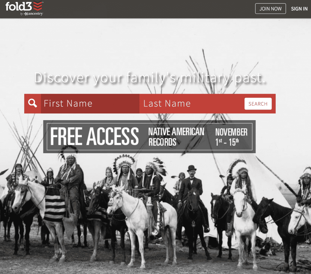 Fold3 Free Access Native American Month