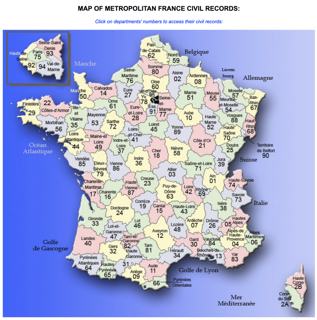 French Departments linking to civil records