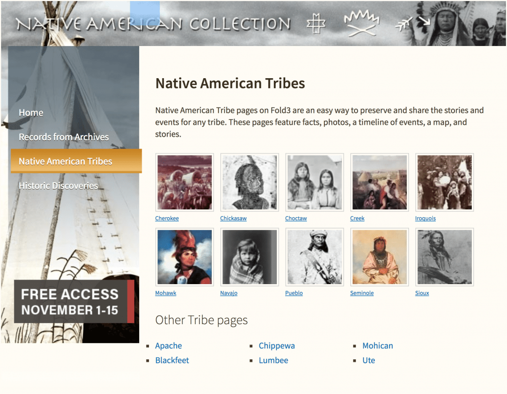Native American Tribes at Fold3