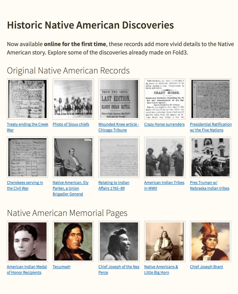 free Fold3 access for Native American Records